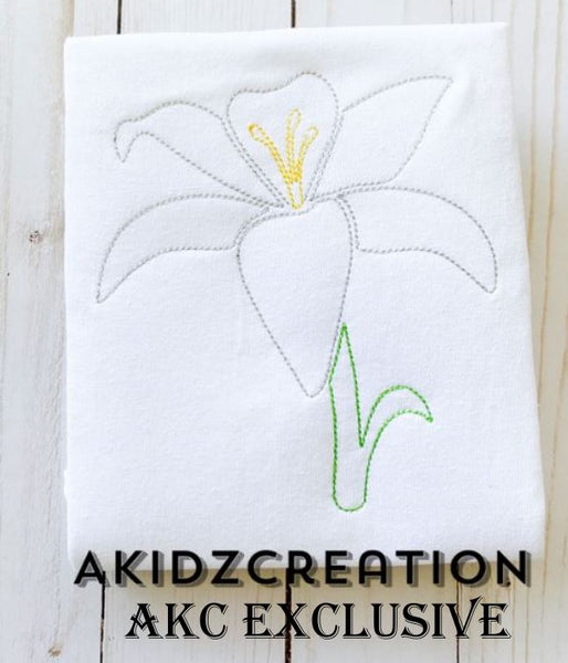 vintage easter lily embroidery design, easter lily embroidery design, lily embroidery design, vintage embroidery design, flower embroidery design, akidzcreation, machine embroidery lily embroidery design