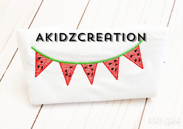 watermelon banner embroidery design, watermelon bunting embroidery design, machine embroidery bunting embroidery design, food embroidery design, monogram embroidery design