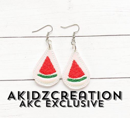 watermelon earrings embroidery design, in the hoop embroidery design, watermelon earrings embroidery design, in the hoop watermelon design
