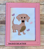 sketch embroidery design, weenie dog embroidery design, butterfly embroidery design, dog embroidery