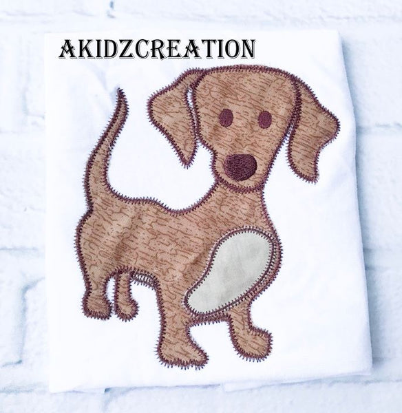 weenie dog embroidery design, dog embroidery, puppy embroidery, applique, embroidery design, dachshund embroidery design
