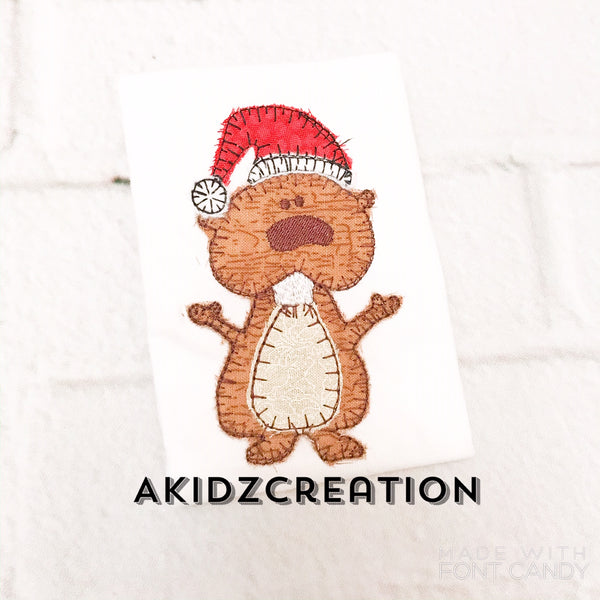 christmas embroidery design, groundhog embroidery design, christmas groundhog embroidery design, santa hat embroidery design