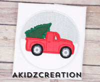 christmas tree truck circle embroidery design, christmas truck embroidery design, red truck and christmas tree embroidery design, truck carrying christmas tree embroidery design, red truck on snow embroidery design
