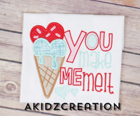 you make me melt embroidery design, valentines embroidery design, ice cream embroidery design, valentines ice cream embroidery design, valentines applique, applique, akidzcreation