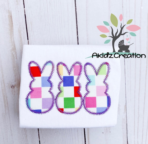 rabbit embroidery, bunny embroidery, machine embroidery, akidzcreation, applique, rabbit applique, easter applique, bunny embroidery design, bunny trio embroidery design, peeps embroidery design, rabbit applique, machine embroidery bunny embroidery design, easter embroidery design, spring embroidery design