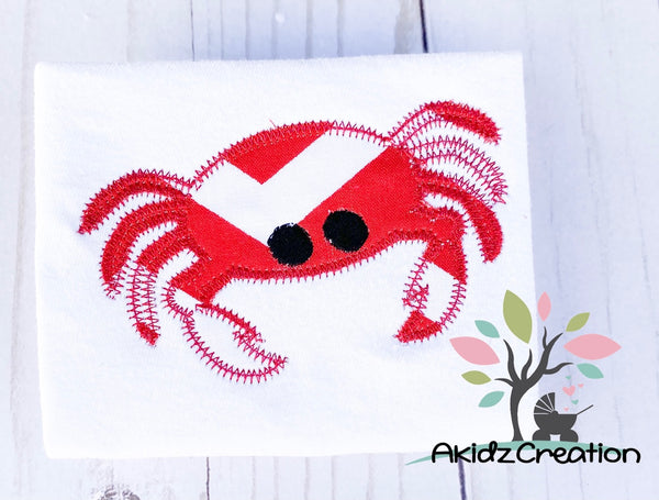 zig zag crab embroidery design, crab embroidery design, nautical embroidery design, animal embroidery, ocean animal embroidery design, applique, applique embroidery design, akidzcreation
