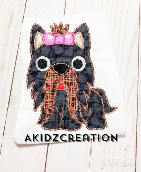 yorkie applique design, yorkie embroidery design, akidzcreation, yorkishire terrier embroidery design, applique, machine embroidery yorkie