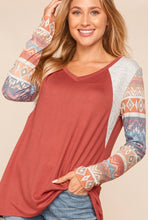 Load image into Gallery viewer, Marsala Aztec Top {Regular and Curvy Sizes}
