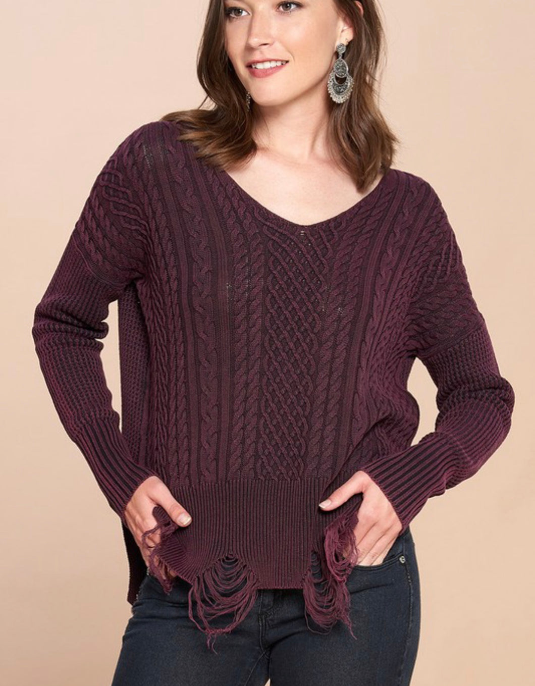 Kingston Distressed Sweater {regular and curvy sizes}