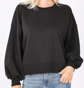 Hold Up Cropped Pullover Black