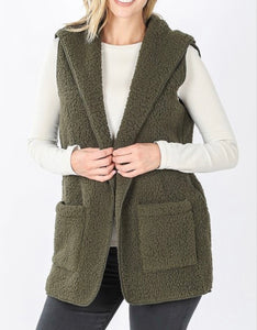 Autumn Nights Sherpa Vest Olive