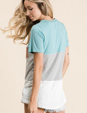 Load image into Gallery viewer, Sea Blue Curvy Colorblock Tee