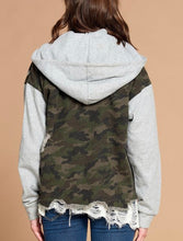 Load image into Gallery viewer, Wakefield Distressed Camo Jacket {regular and curvy}