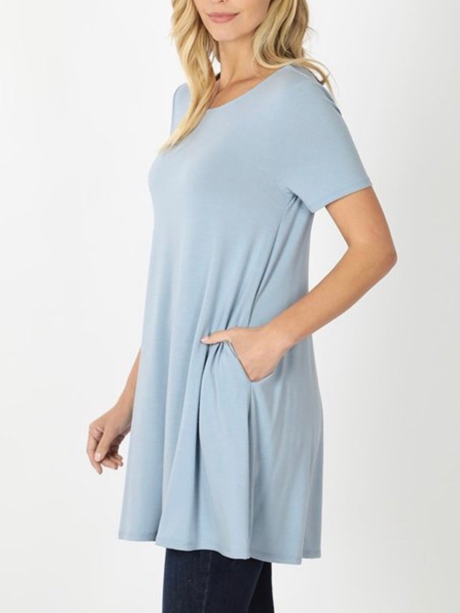 Basic Tunic Tee Ash Blue
