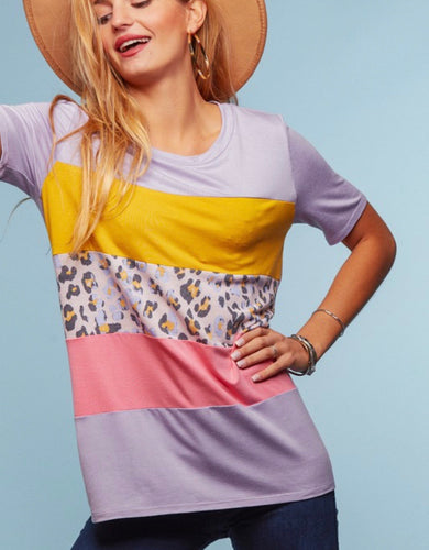 Lavender Leopard Colorblock Tee {regular and curvy}