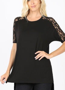 Lace Sleeve Top Black