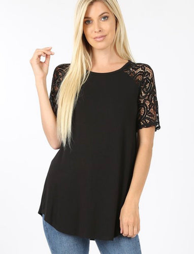Rose City Top Black {regular and curvy sizes}