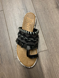 Black Ribbons Sandal