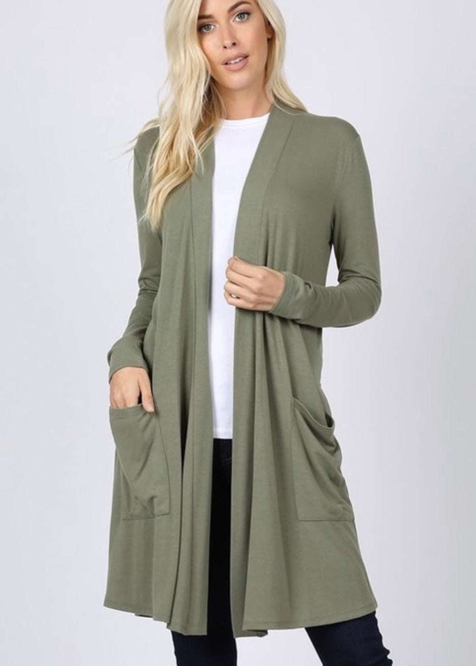 Layered Up Cardigan Sage