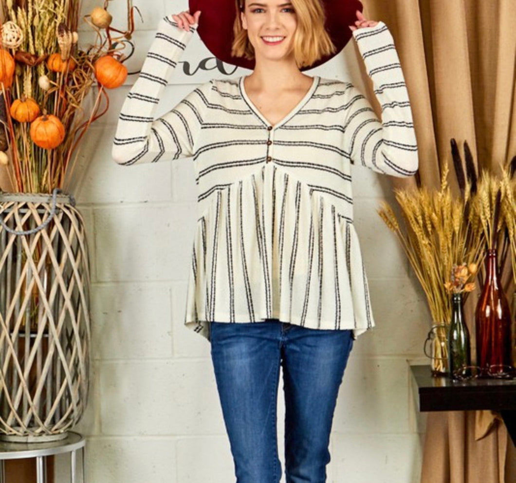 Stripe Babydoll Top
