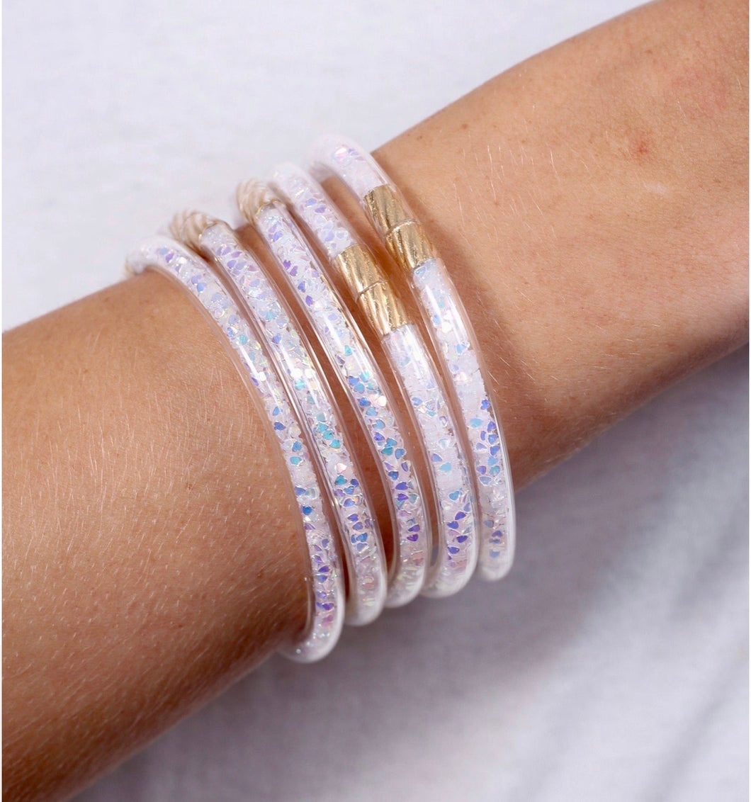 Serena Glitter Bangles {set of 5} White Opal