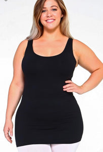 Seamless Tank Black {Regular and Curvy Sizes}