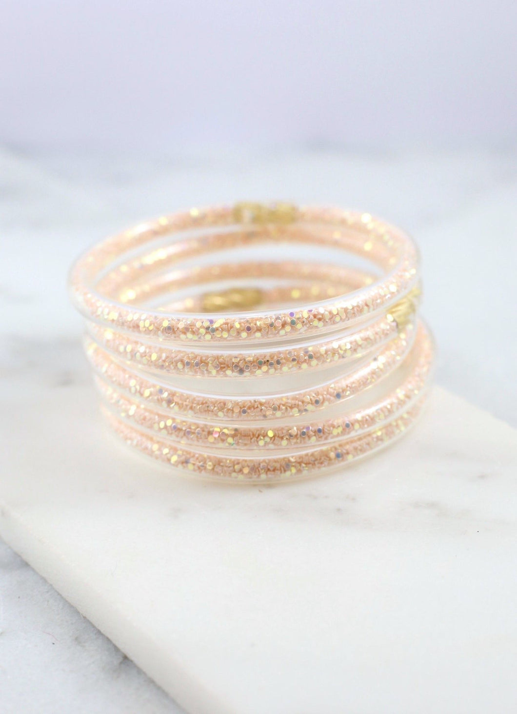 Serena Glitter Bangles {set of 5} Rose Gold