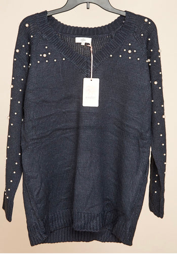 Navy Pearl Sweater