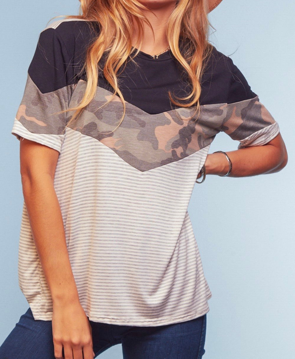No Big Deal Camo Top {regular and curvy sizes}