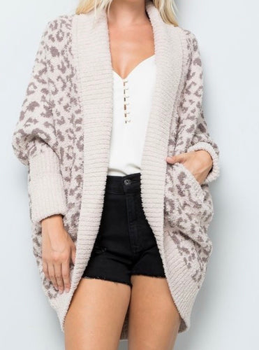 Leopard Dream Cardigan Taupe