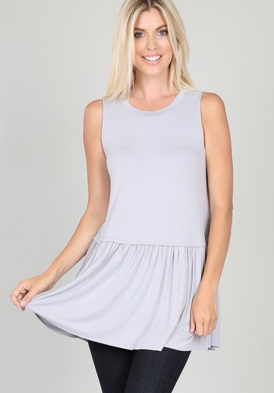 Relaxed Ruffle Tank Dove