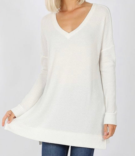 Curvy Thermal Vneck Cream