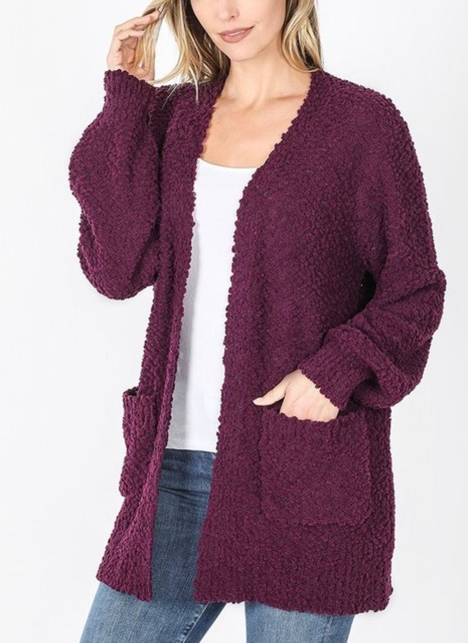 Easy Going Popcorn Cardigan Plum