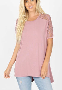 Lace Sleeve Top Rose