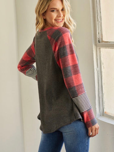 Cozy Nights Plaid Top