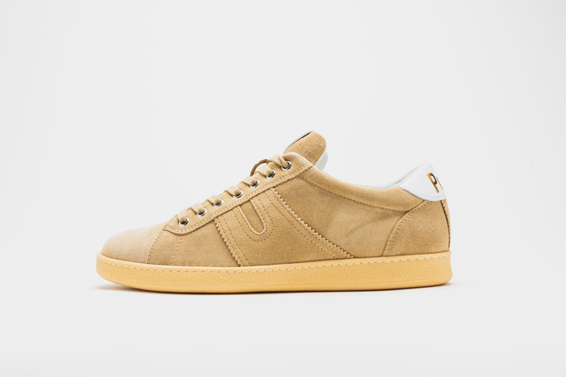 A side image of a men's suede leather sneaker in camel