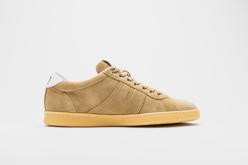 A side image of the Open in camel coloured suede on a pale tan sole
