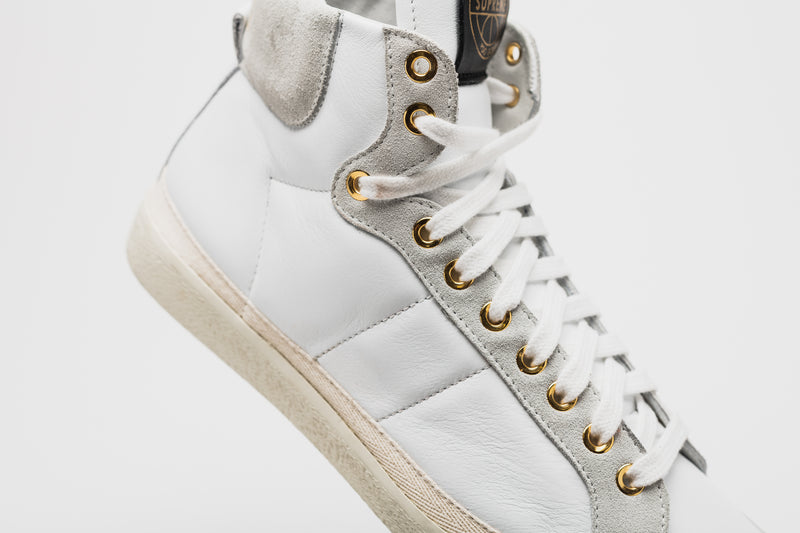 Gold Suede-Trimmed Leather High-Top Sneakers