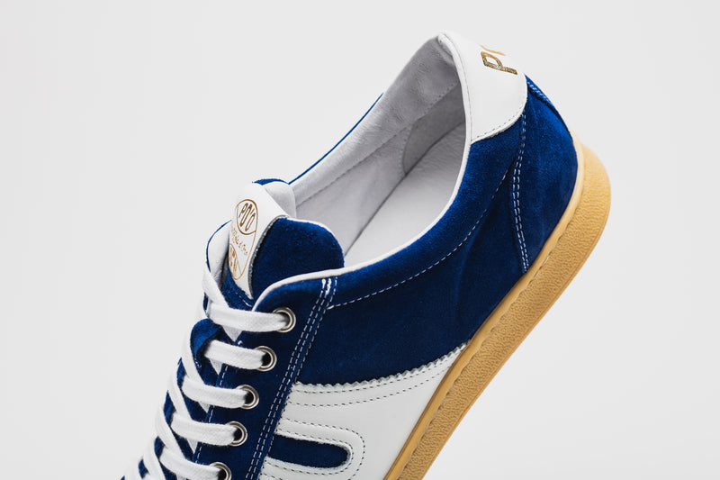 Open Leather-Trimmed Suede Sneakers