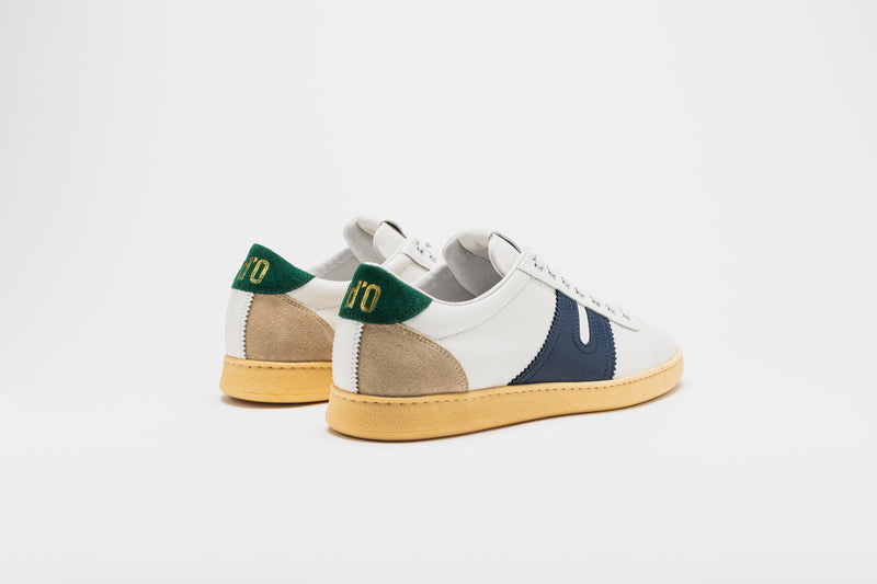 Open Suede-Trimmed Leather Sneakers
