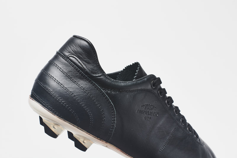 The heel section of a men's black leather football boot