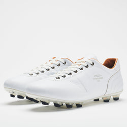An all-white men's leather football boot with black-tipped studs and a tan lining