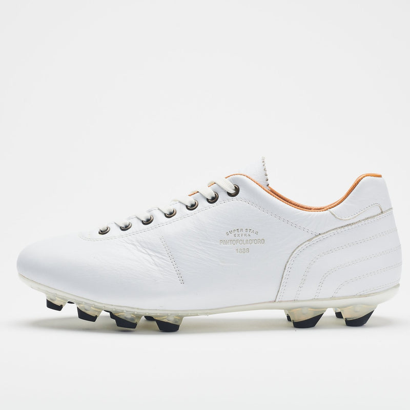 A side image of an all-white men's leather football boot with black-tipped studs
