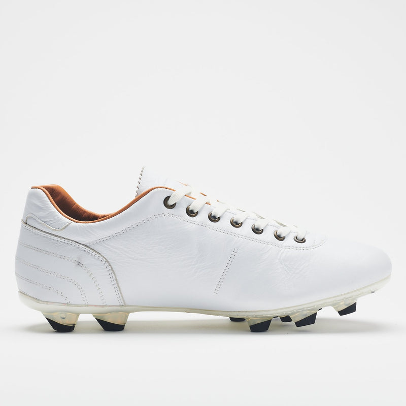 A side image of an all-white men's leather football boot with black-tipped studs and a tan lining