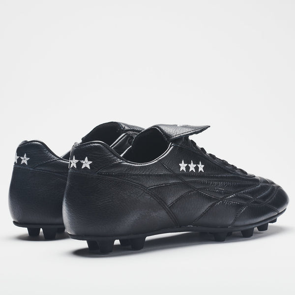A rear image of an all-black men's leather football boot with gold logo detailing