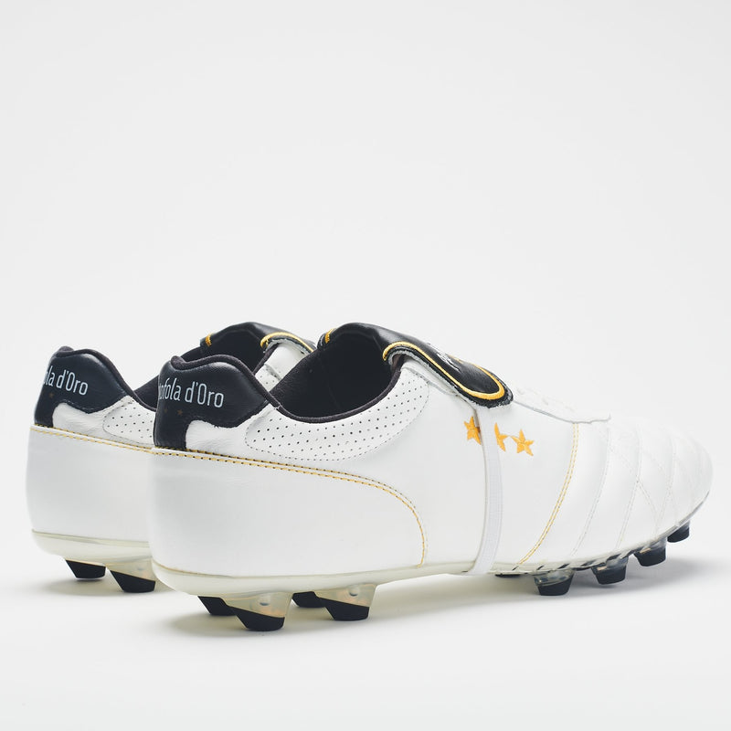 A rear view of men's football boot in premium Italian leather with a white upper, black heel and black-tipped studs