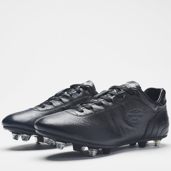 A men's all-black leather football boot with silver-tipped studs