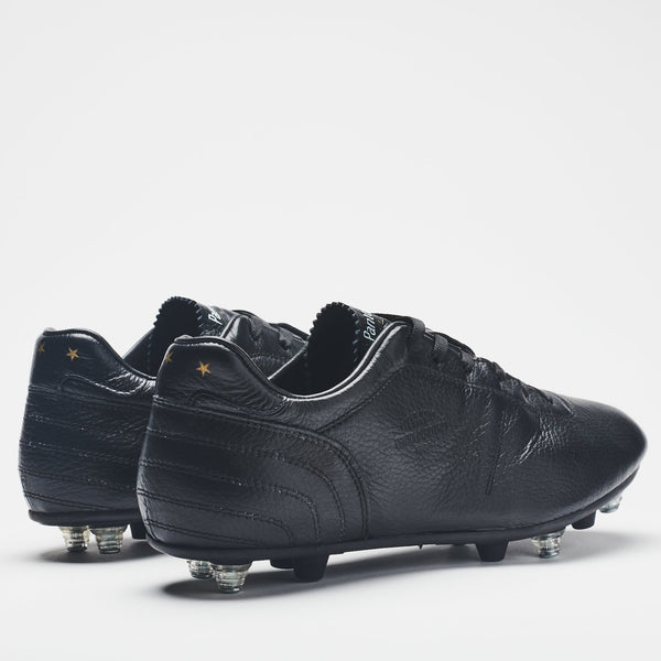 A rear image of a men's all-black leather football boot