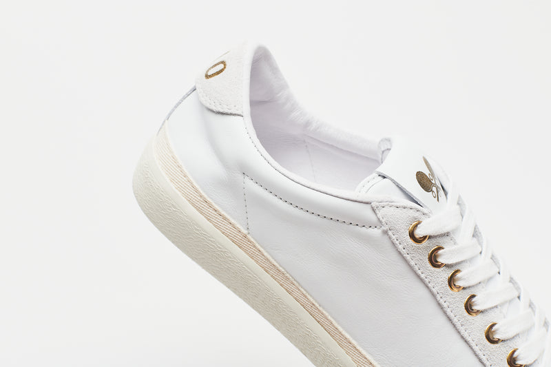 Gold Suede-Trimmed Leather Sneakers
