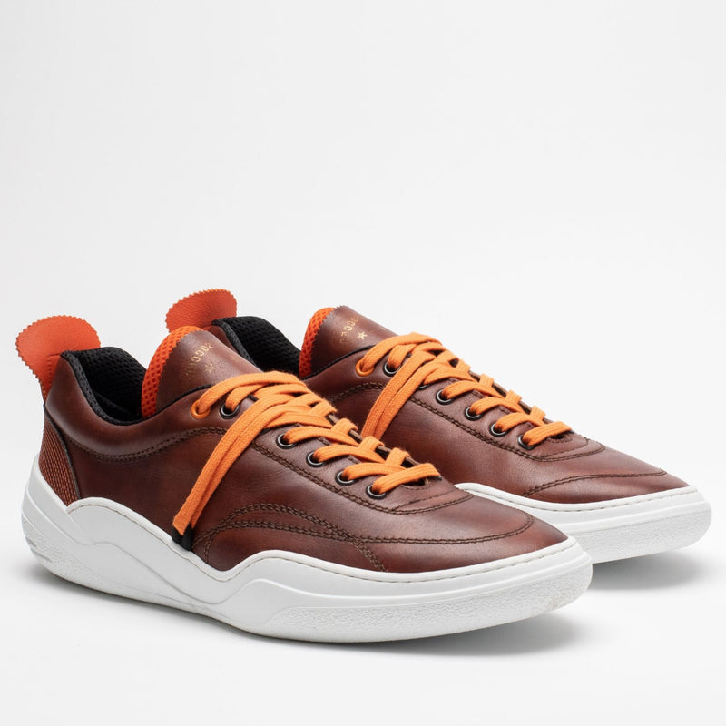 Pair of men's leather trainers in brown, orange and white